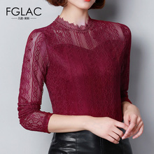 Buy FGLAC Women blouse New Arrivals Autumn long sleeved Lace tops Elegant Slim Hollow Mesh tops plus size women clothing for $11.11 in AliExpress store