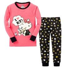 Hello Kitty Girls Pajamas Suits 2-7years Children Clothes Sets Girl's  bottom T-Shirts Pant Sleepwear 100% Cotton