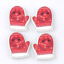 50pcs Christmas glove Buttons botones de madera Flatback Scrapbooking Wooden Buttons Sewing Accessories 19x26mm MT1595(China)