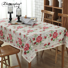 Fashion Rose Cotton Linen Tablecloths Dining Room Washable Table Cloth Rectangle Table Covers For Wedding Party Country Style