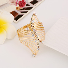fashion metal feather open cuff bracelets & bangles for women indian jewelry viking carter love bracelet jonc hair tie bangle(China)