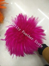 Free shipping 1000pcs 12-15cm fuschia color grizzly stripe chicken rooster plumage feathers for jewelry making bulk sale(China)