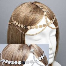 Free shipping, Coins Circle Design Belly Dance Accessory Jewelry Hair Head Chains Club Party(China)