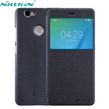 For Huawei Nova Cover 5.0'' inch No va Leather Case NILLKIN Quality Hard PC Black Cover Flip Smart Sleep Windows Phone Cases