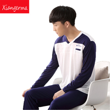 long sleeve Pajama Winter Blue Men's Pajama Sleepwear Men Nightgown Sleepwear family christmas pajamas men free shipping ZN(China)