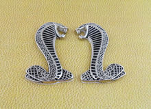 2 x L/R silver black Cobra Snake for Mustang Shelby Fender Emblem Badge Sticker