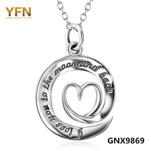 GNX9869 Genuine 925 Sterling Silver Heart Pendant Necklace Fashion Jewelry Love Message Necklace Valentine's Gifts For Women