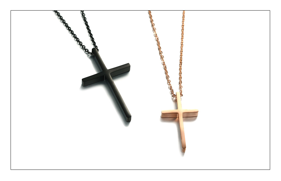 Meaeguet Christian Love Cross Pendant Jesus Necklaces For Couple Stainless Steel Religious Collier Jewelry  (3)