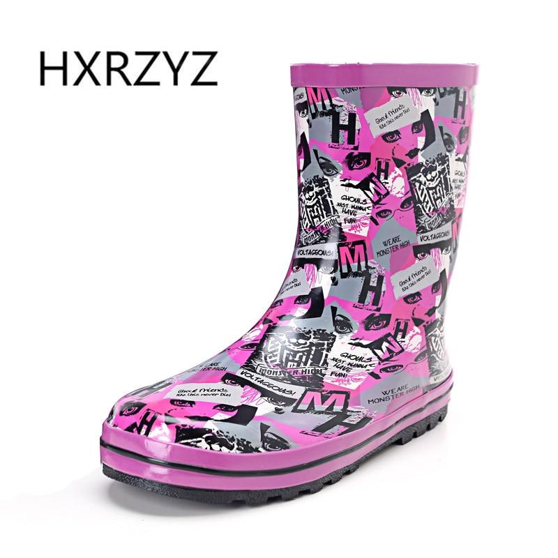 HXRZYZ women rubber boots spring/autumn ankle rain boots female new fashion graffiti slip-resistant waterproof women rain shoes<br>