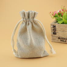 Wholesale 50pcs 10*14cm Natural Color Jute Cotton Bags Favor Christmas Drawstring Gift bag Cute Jewelry Charms Packaging Bag