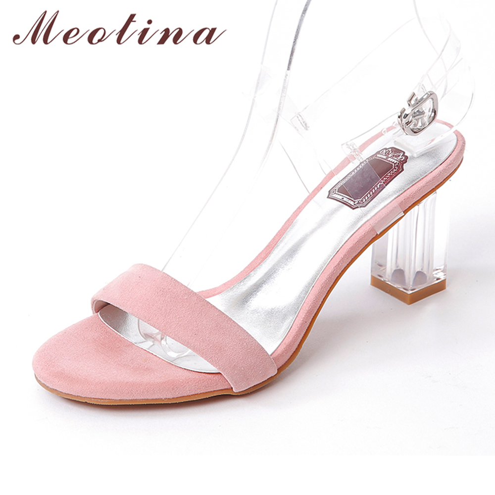 Meotina Shoes Women Sandals Suede Genuine Leather Sandals High Heel Sandals Open Toe Transparent Party High Heels Pink Black <br>