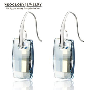 Neoglory MADE WITH SWAROVSKI ELEMENTS Crystal Chandelier Hook Long Big Dangle Earrings for Women 2017 Bridesmaid JS9 JS4