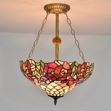 European Stained glass art pendant lights garden roses balcony Bar Bedroom Restaurant chain lighting110-240V E27 Dia40CM 3 light(China)