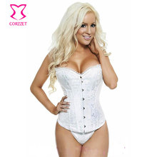 Victorian Lace Trim and Rhinestone Strapless Overbust White Corsets And Bustiers Wedding Bridal Corset Sexy Gothic Lingerie