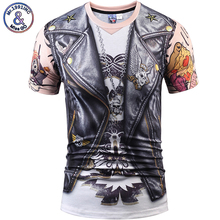 Mr.1991INC 3D Men/Women t shirt Short Sleeve Summer t-shirts Newfangled False 2 pieces Skull Printing Hot Tops Pint Tees S-3XL
