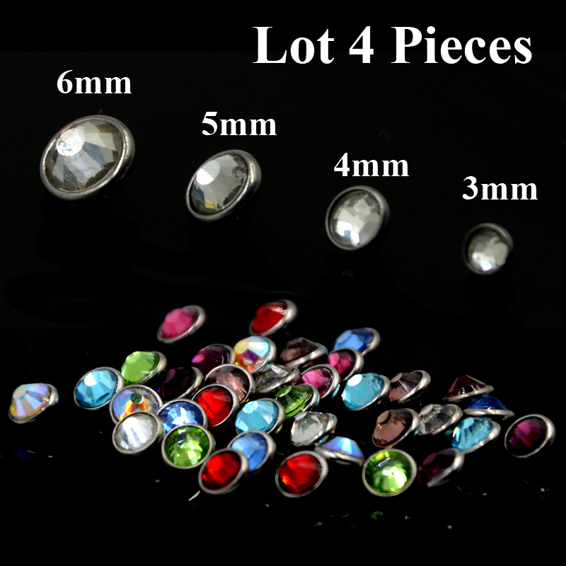 Dermal Anchors 16g 4 mm Clear Gem Surgical Steel 11 Tops and 11 Bases