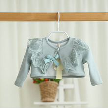 EMS DHL Free shipping Little Girls High Quality Fashion Lace Pearls 2016 Spring Summer Cardigan knitted sweater Casual Wear(China)
