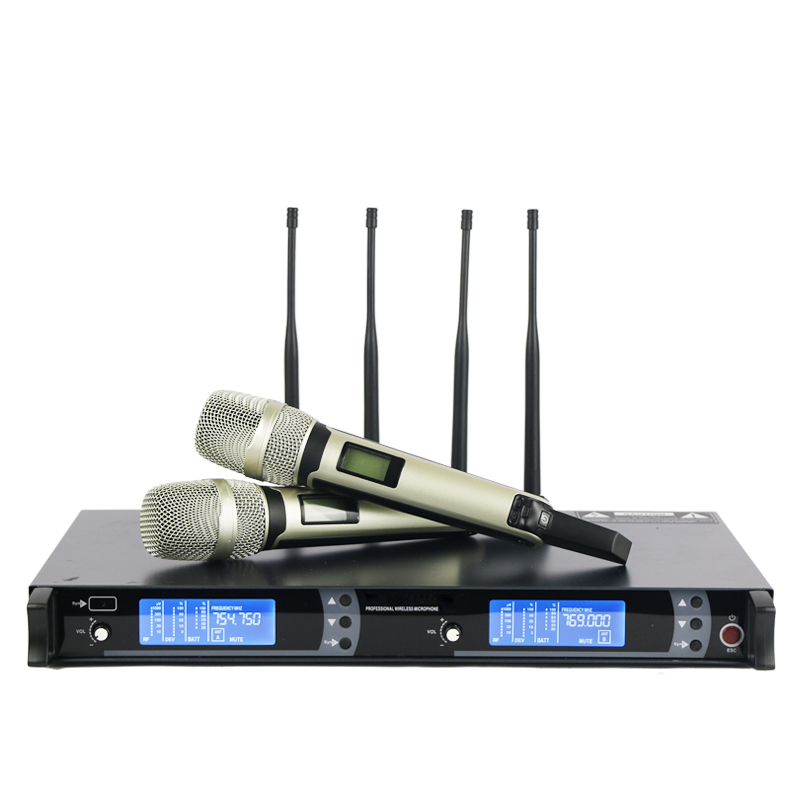 New arrival!! Top Quality 4 Antenna Long Range for Stage !! Golden Handheld Mic Professional Wireless Microphone System(China (Mainland))