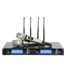 New arrival!! Top Quality 4 Antenna Long Range for Stage !! Golden Handheld Mic Professional Wireless Microphone System(China)