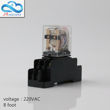 10 pieces hh52P small AC220 v relay with intermediate relay lamp base current is 5 a silver contact eight feet(China)