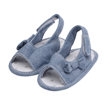 New Born Baby Shoes Little Kids Blue Jean Beautiful Bowtie Baby Girl Sandals Toddler Prewalker Summer Crib Moccasin(China)