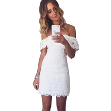 YJSFG HOUSE Solid White Off Shoulder Short Party Club Dresses Women Summer Slim Bodycon Pencil Dress 2017 Ladies Lace Vestidos
