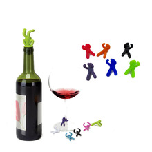 Arsmundi Creative Shape Small Drunkard Silicone Wine Bottle Stopper With Six Wine Glass Marker Funny Cup Marker Wine Accessories