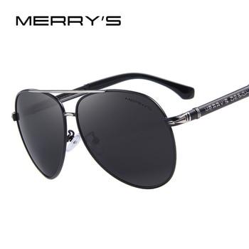 MERRY'S Homens Clássico Marca de Design Óculos De Sol HD S'8728 Shades UV400 Polarizada óculos De Sol de Alumínio de Luxo