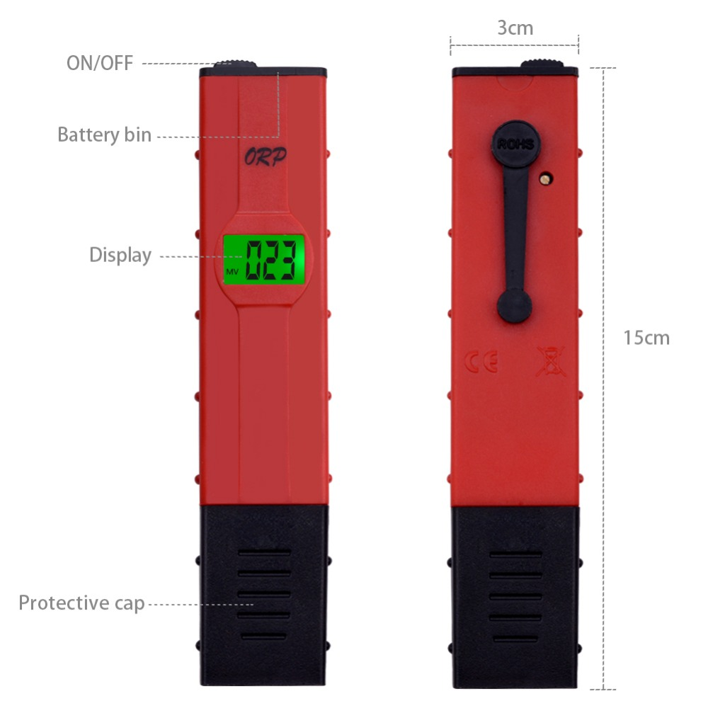 yieryi 100% New Brand ORP-2069 LCD Digital Type Red Pen Tester Water Quantity Pool Tester ORP Meter for Hydrogen generator
