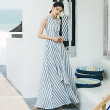 Buy VERRAGEE long A-line dress brand sleeveless Floor length dress women summer 2018 new striped elegant party maxi dress vestidos for $35.64 in AliExpress store