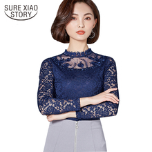 Buy 2017 New Autumn Fashion Long Sleeved women lace Shirt Elegant Slim hollow sexy slim Lace Tops solid Women blouse Blusas 560A 30 for $11.70 in AliExpress store