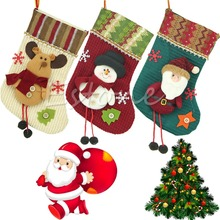 2015 Modern New Santa Claus Christmas Stocking Hanger Xmas Ornaments Plush Candy Gift Bags