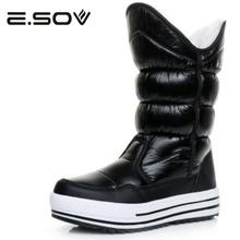 Buy Esov Women Boots 2017 Russia Waterproof Platform Knee High Boots Fur Female Warm Snow Boots Woman Winter Women Cotton Shoes for $40.92 in AliExpress store