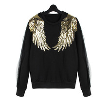 Gold Paillette Wing Hoody Mesh Patchwork Black Pullovers  Casual Winter Fleece Hoodies Women Tops