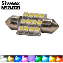 31MM 12 SMD 3528 LED White Warm Green Blue Pink Red Purple Iceblue Yellow Light Dome Map Door Festoon 3022 Bulb DC 12V(China)