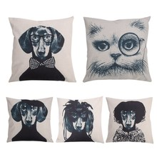 Fashion Dog Pattern Cotton Line Covers Pillow Case Line Cases  Bed Beding Pillow Cover 45*45cm