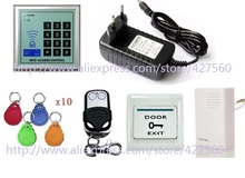 12khz RFID Access Control Keyboard keyfob+ power supply+Wireless Remote Controller+12v doorbell for door access control