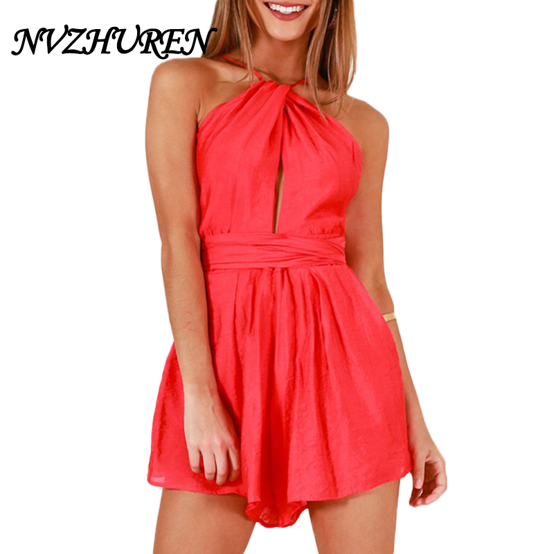 NVZHUREN Halter Crop Sexy Solid Women Playsuits 2018 Summer Beach Backless Jumpsuits Mini Overalls Sleeveless Female Rompers
