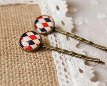 Mediterranean Style Rhombic Plaid Print Glass Cabochon Hairpins for Girls Preppy Simple Small Bronze Hair Clips Handmade fq018