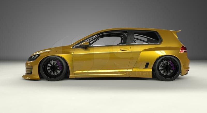 2015-2017 Volkswagon Golf MK7 GTI Pandem Rocket Bunny Style Wide Body Kit FRP (63)