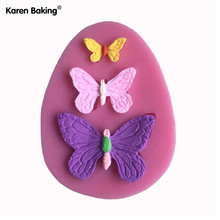 3D Silicone Mold Butterfly Shapes Mould 3 Cavities For Soap,Candy,Chocolate,Ice,Cake -C021(China)