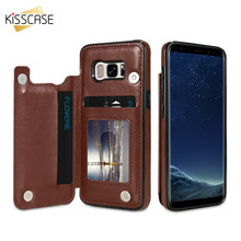KISSCASE Retro Card Holder Case For Samsung S8 S7 Edge S8 Plus Flip Wallet Cases For Samsung S8 Plus S7 Leather Phone Bag Case