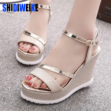 SHIDIWEIKE Women Sandals Fashion Comfortable Bohemian Wedges Women Sandals For Lady Shoes High Platform Silver Gold Black Shoes