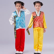 Boy Costume Korean Hanbok Korean Traditional Clothes Blue /Red Kids Stage Performance Costume Party Costume for Children(China)
