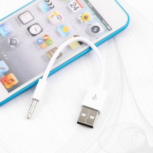 1pc High quality 3.5mm Jack/Plug to USB 2.0 Data Sync Charger Transfer Cable for iPod Hot New Arrival