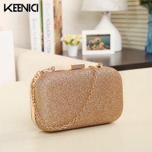 KEENICI Evening Bag Lady Women Party Wedding Glitter Chain Clutch Case Box Handbag Purses Hight Fashion Elegant Shoulder Bag
