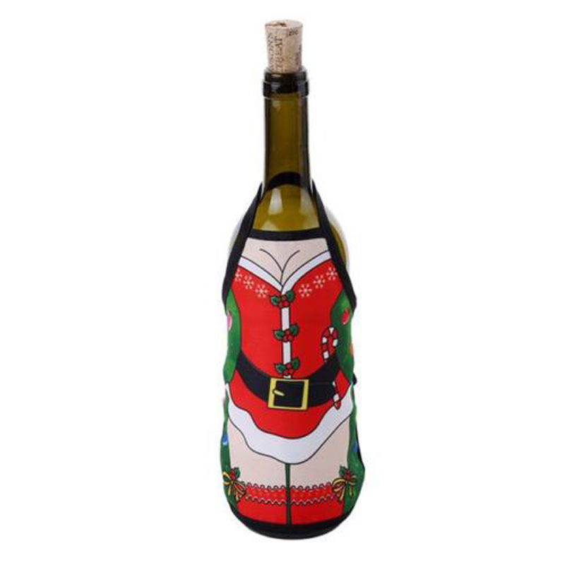 DIY Christmas Santa Wine Bottle Apron Wrap Cover Xmas Dinner Party Table Decor