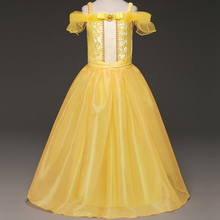 Holloween Decoration Ball Gown Little Girl Prom Dress Dinner Costume For Teenage Girl 4-10 Year Yellow Belle Dress Wear Vestidos