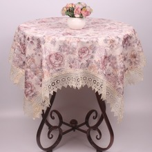 Elegant Polyester Blending Red / Grey Floral Vintage Table Cloth for Square Tea Coffee Tables Dustproof Covers(China)