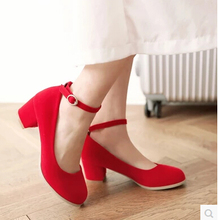 2016 new 5CM thick heel high heel shoes frosted round buckle red wedding shoes black work performances(China)